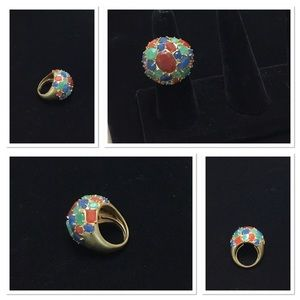 Stunning Vintage Dome Colorful Stone Ring
